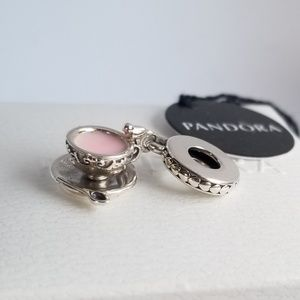 PANDORA Dangle Charm Enchanted Tea Cup Silver